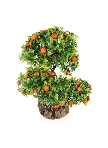 Çiçekmisin Kütük Saksıda Yapay Mandalina Ağacı Renkli